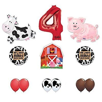 Barn Farm Animals 4th Birthday Party Supplies Cow, Pig, Barn Balloon Decorations ()