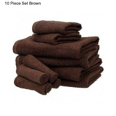 New Brown Cotton 10 Piece Bath Towel Set Washcloth Bathing Bathroom Hand Towels