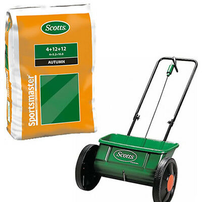 EVERGREEN DROP SPREADER + 25KG SPORTSMASTER AUTUMN / WINTER GRASS FERTILISER