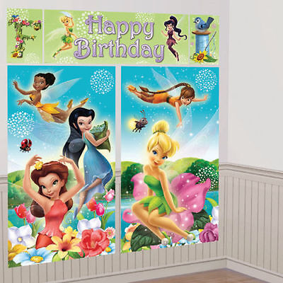 TINKER BELL WALL BANNER DECORATING KIT (5pc) ~ Happy Birthday Party Supplies