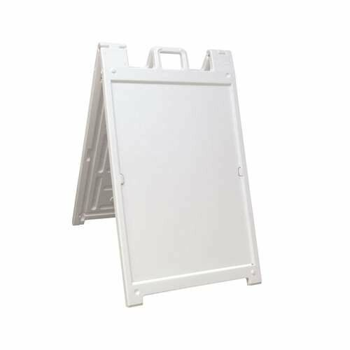 Plasticade Deluxe Signicade Double-Sided Sign Stand, White (Open Box) (3 Pack)