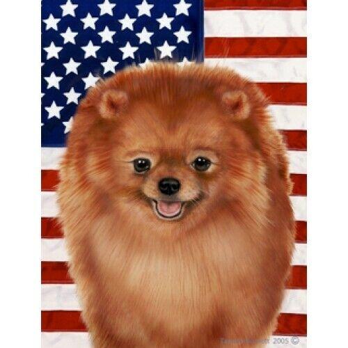 Patriotic (D2) Garden Flag - Orange Pomeranian 320131