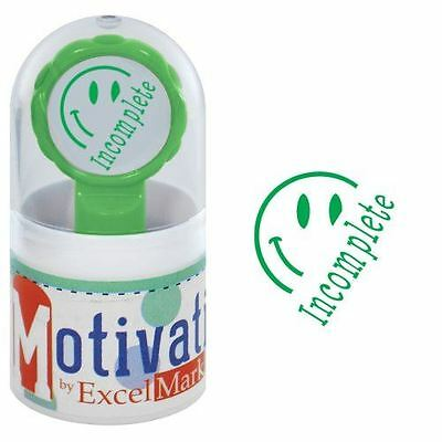 New Excelmark Motivations Pre Inked Teacher Stamp Incomplete Green Ink