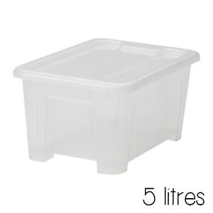 ikea plastic storage box tub container with lid clear storage stackable 5 l ebay. Black Bedroom Furniture Sets. Home Design Ideas