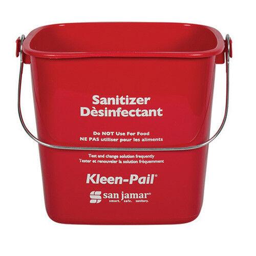 San Jamar KP196RD Klean-Pail Soap/Sanitizing Solution Safety Pail 6 Quart, Red