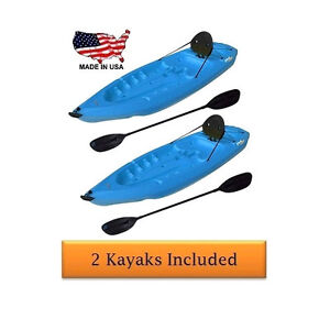 2-Pk-Lifetime-90172-Blue-8-Plastic-Sit-On-Top-Adult-Boat-Kayak-Paddle-Backrest