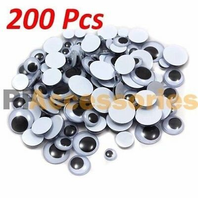 Googly Googly (200 Pcs Assorted Sizes Wiggly Googly Eyes 7 Sizes for DIY Scrapbooking Craft)