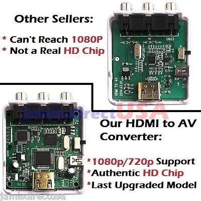 HDMI 1080p/720p to AV Audio/Video RCA CVBS Mini Composite Adapter Converter HDTV on Rummage