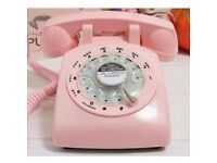 1960's Style Pink Retro Old Fashioned Rotary Dial Telephone Metal Ring