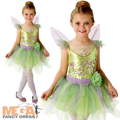Deluxe Tinkerbell Girls Fancy Dress Disney Fairy Tale Book Day Child Kid Costume ()