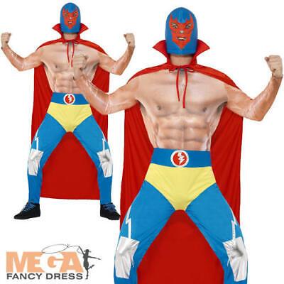 Wwe Fancy Dress Adults (Mexican Wrestler Mens Fancy Dress WWE Fighter Novelty Sports Adults Costume)