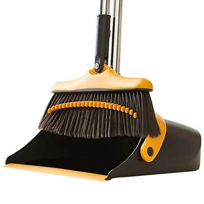 Broom and Dustpan Set with Long Handle - Kitchen Brooms and Stand Up Dust Pan...