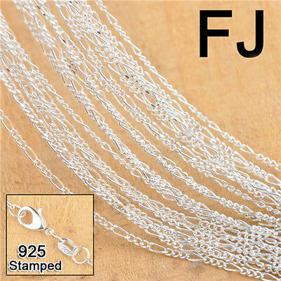 20PC 925 Silver Figaro Necklace Chain Jewelry Making Findings For Pendant 18