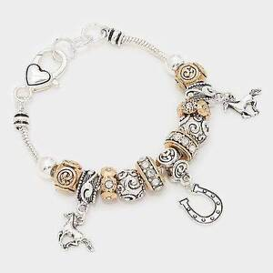 Two Tone Metal Horse & Horseshoe Charm Bracelet + plus More Style North Ipswich Ipswich City Preview