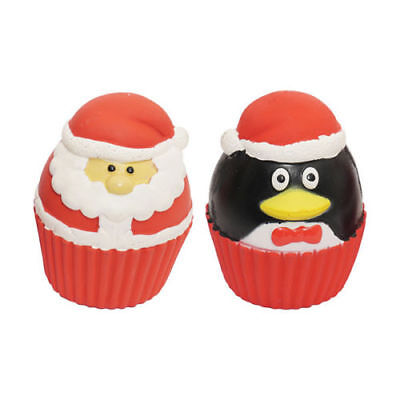 Rosewood Christmas Dog Cupcake Pudding Squeakies 2 Pack Toy Santa Play Squeaky
