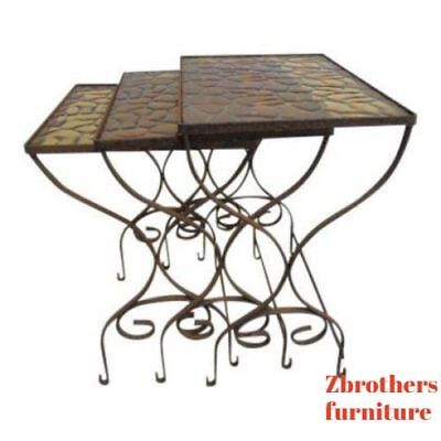 Vintage Iron Outdoor Patio Woodard  Stacking Nestinf Sode End Tables 3pc Stacking Outdoor End Table