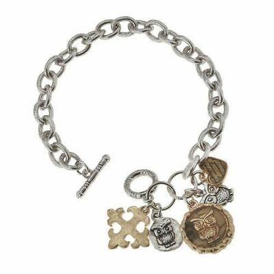 epoxy owl charm cluster bracelet
