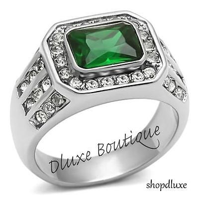 Emerald Cut Mens Rings (MEN'S 3.45 CT EMERALD CUT GREEN EMERALD CZ SILVER STAINLESS STEEL RING SIZE 8-14 )