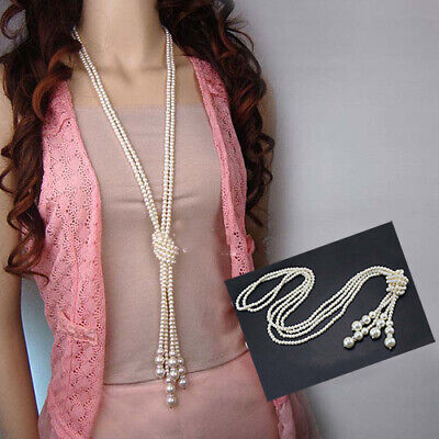 Women Faux Pearls Long Sweater Chain Charms Knot Necklace Jewelry Christmas Gift