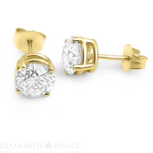 1.1 Ct Round Stud Diamond Earrings Vs2/f 18k Yellow Gold Engagement, Enhanced