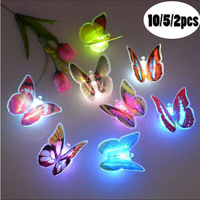 10PC Luminous Butterfly Colorful LED Lamp Night Light Party Room Desk Wall Decor