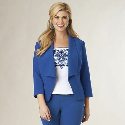 NEW WOMENS MONROE & MAIN COBALT BLUE TUXEDO JACKET PLUS SIZE 2X