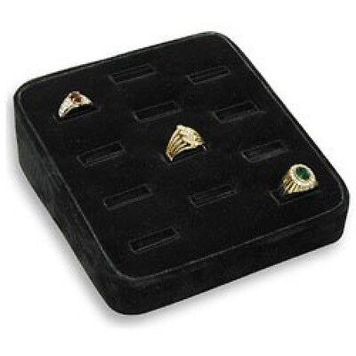 New 12 Slots Ring Tray Black Velvet Ring Jewelry Display