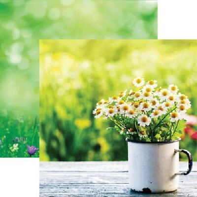 Scrapbooking Crafts 12X12 DS Paper Hello Spring Cup Daisies Vintage Table - Daisy Ds 12x12 Paper