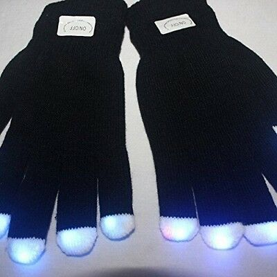 Fashion Cool LED Rave Flashing Gloves Glow 7 Mode Light Up Finger Lighting Black](Finger Light Gloves)