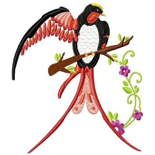 Embroidered Sweatshirt - Beautiful Birds PE14