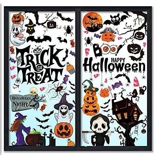 96 Pcs Halloween Window Clings for Glass Windows Decals Double-Sided Stickers