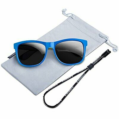RIVBOS Rubber Kids Polarized Sunglasses With Strap Glasses (Kids Sunglasses With Strap)