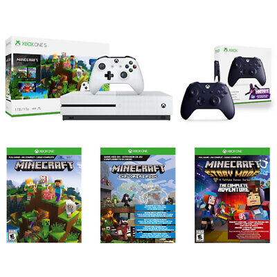 Xbox One S 1TB Minecraft Console Bundle + Wireless Controller Fortnite Edition
