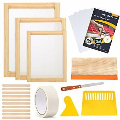 Caydo 23 Piece Screen Printing Starter Kit Include 3 Different Size Of Wood Silk