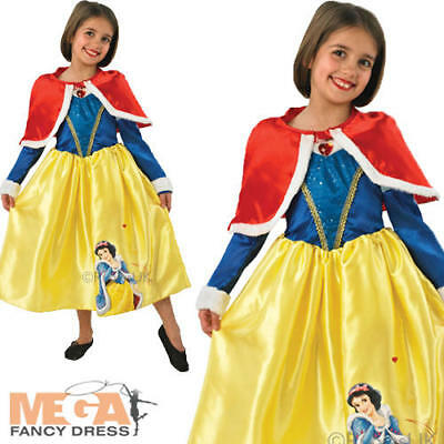 Snow White Winter Costume (Snow White Winter Wonderland Girls Disney Fancy Dress Costume + Cape Ages 3-8)