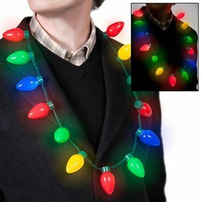 Christmas Party Favors For Adults (LED Light Up Christmas Bulb Necklace Party Favors for Adults or Kids Flashing)