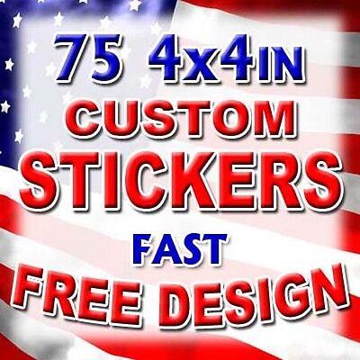 75 4x4 Custom Printed Full Color Vinyl Car Bumper Stickers Decals Product Labels