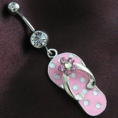 Light Pink Slipper Flip Flop Sandal Shoe Dangle Body Belly Button Naval Ring 14G - Flip Flop Dangle Belly Ring