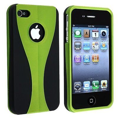 Green / Black Cup-shape Snap-on Rubber Coated Case for Apple iPhone 4/4S (Black Rubberized Coating Snap)
