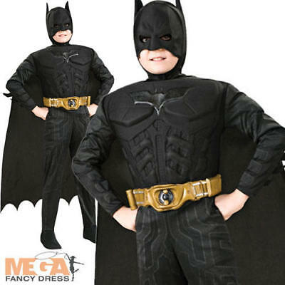 Boys Deluxe Batman The Dark Knight Superhero Fancy Dress Kids Halloween Costume (Kid Batman Kostüme)