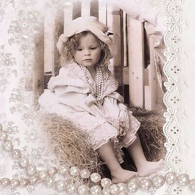 Little Vintage Girl 4 Napkins 33x33cm Paper Decoupage Table BUY 4 GET 1 FREE