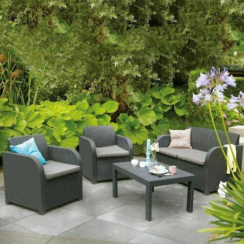 Garden Furniture -  Allibert Carolina Rattan Garden Furniture Patio Set Anthracite/C Or Brown