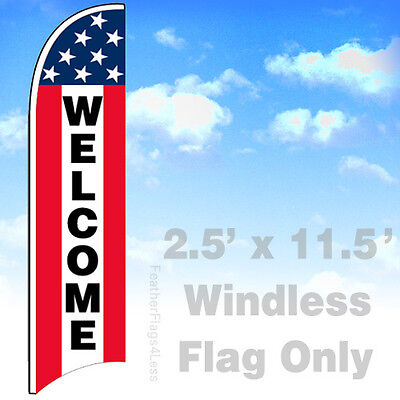 Welcome - Windless Swooper Flag 2.5x11.5 Feather Banner Sign - Stars Stripe Rb