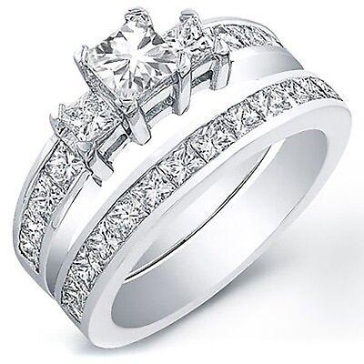 3.00 Ct. Radiant Cut Diamond Engagement Bridal Set GIA