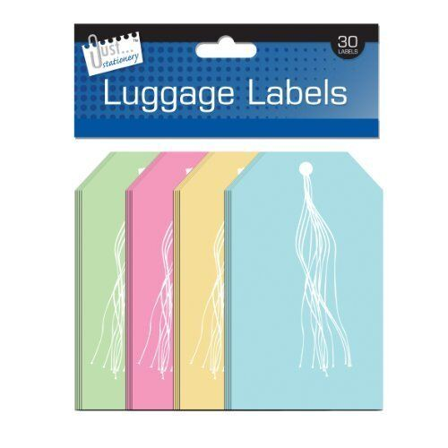 Pack of 30 135x75mm Luggage Label Assorted Colours - Strung Gift Tags