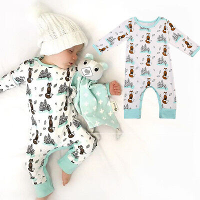 USA STOCK Cute Newborn Infant Baby Boy Girl Fox Romper Bodysuit Playsuit - Cute Usa Outfits