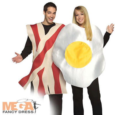 Bacon & Eggs British Food Fun Couple Fancy Dress Adults Breakfast Costume Outfit