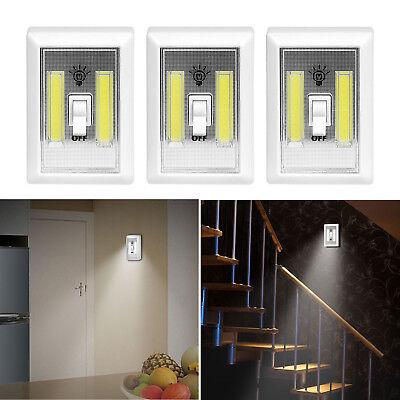 3 PCS COB LED Wall Switch Wireless Battery Operated Closet Cordless Night Light