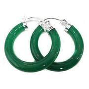 Green Jade Hoop Earrings