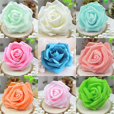 50  Foam Rose Heads Artificial Flowers Wedding Bride Bouquet Party Decor DIY